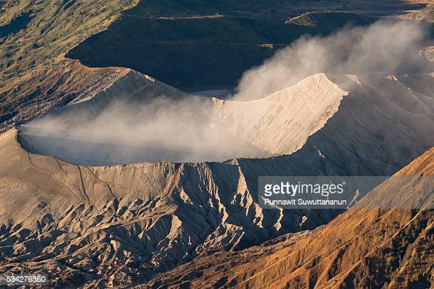 bromo volcano crater in the morning, surabaya - bromo crater stock pictures, royalty-free photos & images