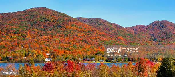 bromont mountain in autumn; bromont, quebec, canada - ケベック州 ストックフォトと画像