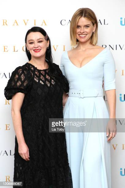 Bronagh Gallager and Alice Eve attend the Belgravia photocall at Soho Hotel on February 17 2020 in London England