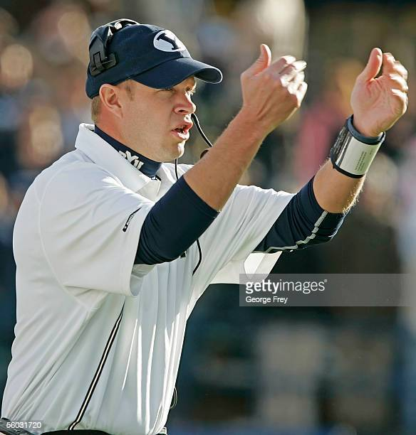 Bronco Mendenhall, head coach of Brigham Young University, call his players over during a game against Air Force October 29, 2005 in Provo, Utah...