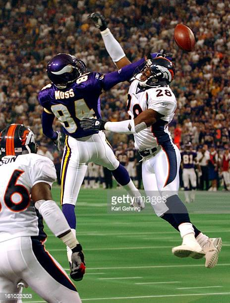 Bronco safety Kenoy Kennedy defended Randy Moss in the second quarter A pass from Viking quarterback Randy Culpepper sailed over their heads The...