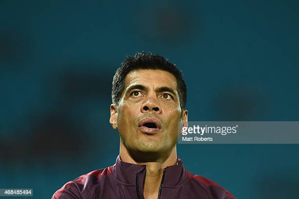 Broncos assistant coach Stephen Kearney looks on before the round five NRL match between the Gold Coast Titans and the Brisbane Broncos at Cbus Super...