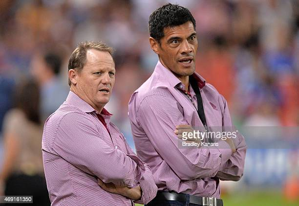 Broncos Assistant Coaches Kevin Walters and Stephen Kearney are seen chatting before the round six NRL match between the Brisbane Broncos and the...
