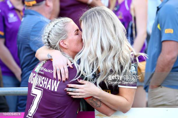 Broncos captain Ali Brigginshaw celebrates with partner Kate Daly after winning the 2018 NRL Women's Premiership Grand Final match between the Sydney...