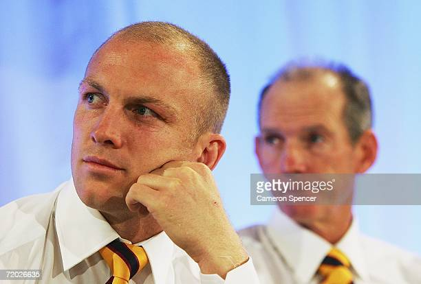 Broncos Captain Darren Lockyer and Coach Wayne Bennett look on during the NRL Captains Grand Final Breakfast at the Westin Hotel September 28 2006 in...
