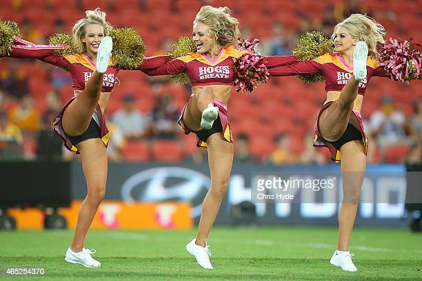 Broncos cheerleaders perform during the round one NRL match between the Brisbane Broncos and the South Sydney Rabbitohs at Suncorp Stadium on March 5...