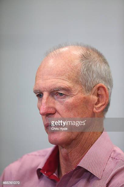 Broncos coach Wayne Bennett speaks to media after losing the round one NRL match between the Brisbane Broncos and the South Sydney Rabbitohs at...