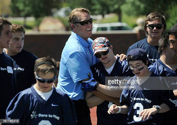 Broncos defensive coordinator Jack Del Rio center congratulates his team in the end zone after they scored a touch down Former Denver Broncos...