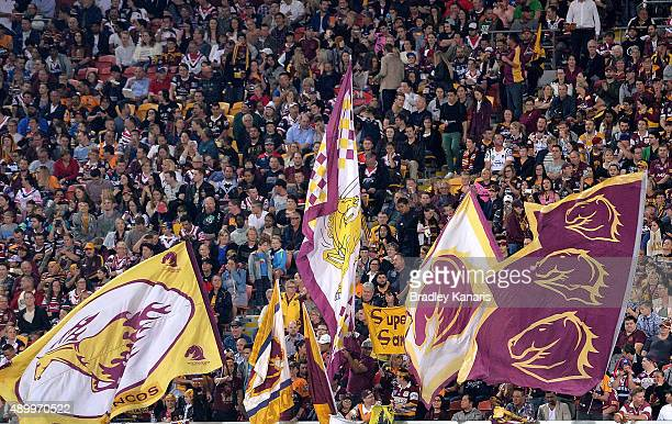 Broncos fans show their support during the NRL First Preliminary Final match between the Brisbane Broncos and the Sydney Roosters at Suncorp Stadium...