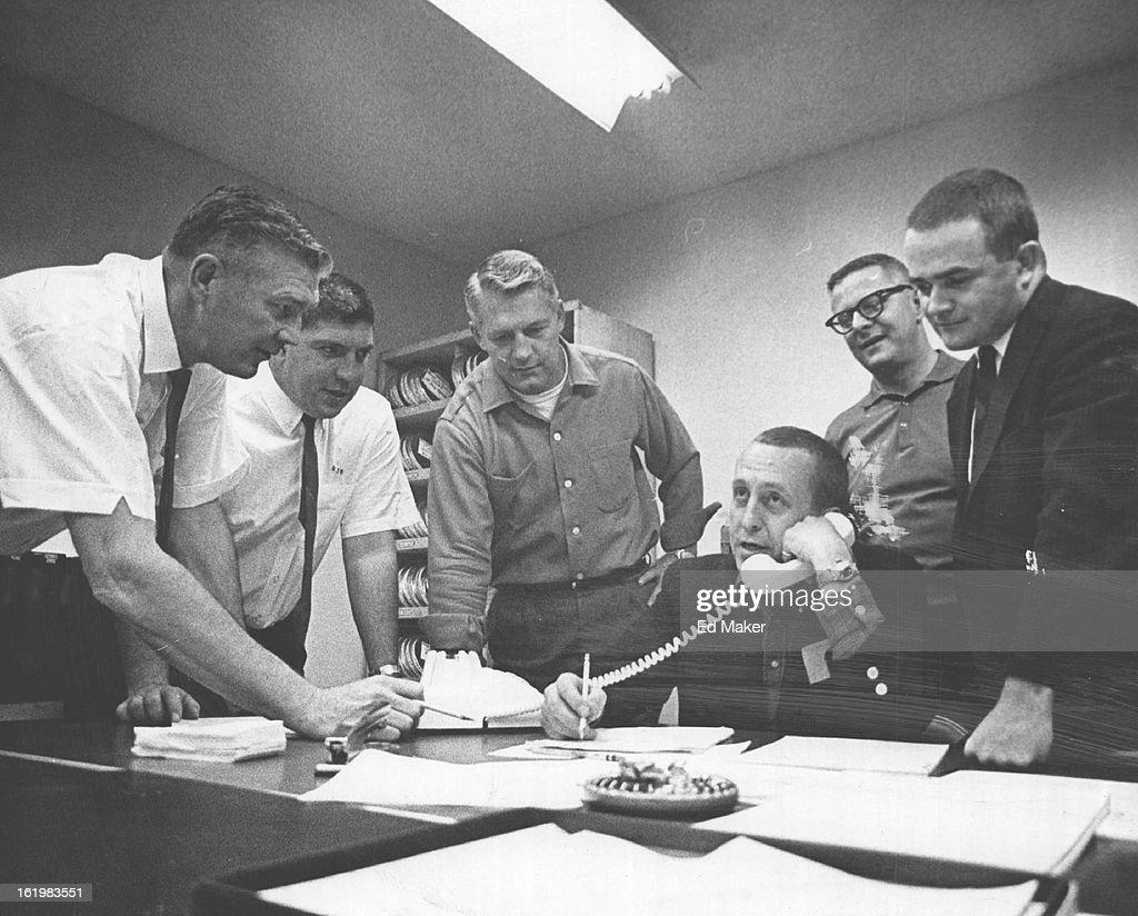 """NOV 29 1964, NOV 30 1964; Broncos GM Operates From """"Hot Line Central""""; Denver Broncos General Manage : News Photo"""
