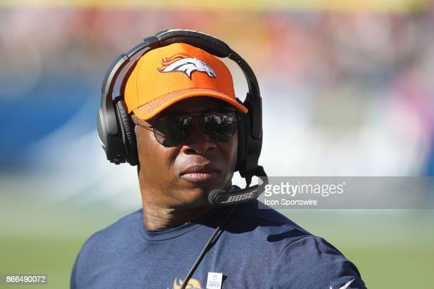 Broncos head coach Vance Joseph on the sideline before an NFL game between the Denver Broncos and the Los Angeles Chargers on October 22 2017 at...