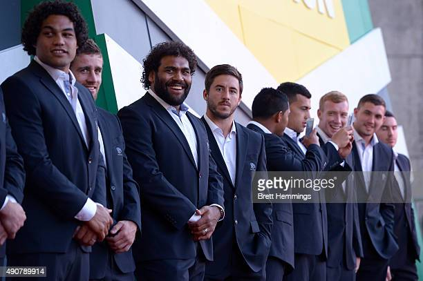 Broncos players look on during the launch of NRL Nation at Darling Harbour on October 1 2015 in Sydney Australia