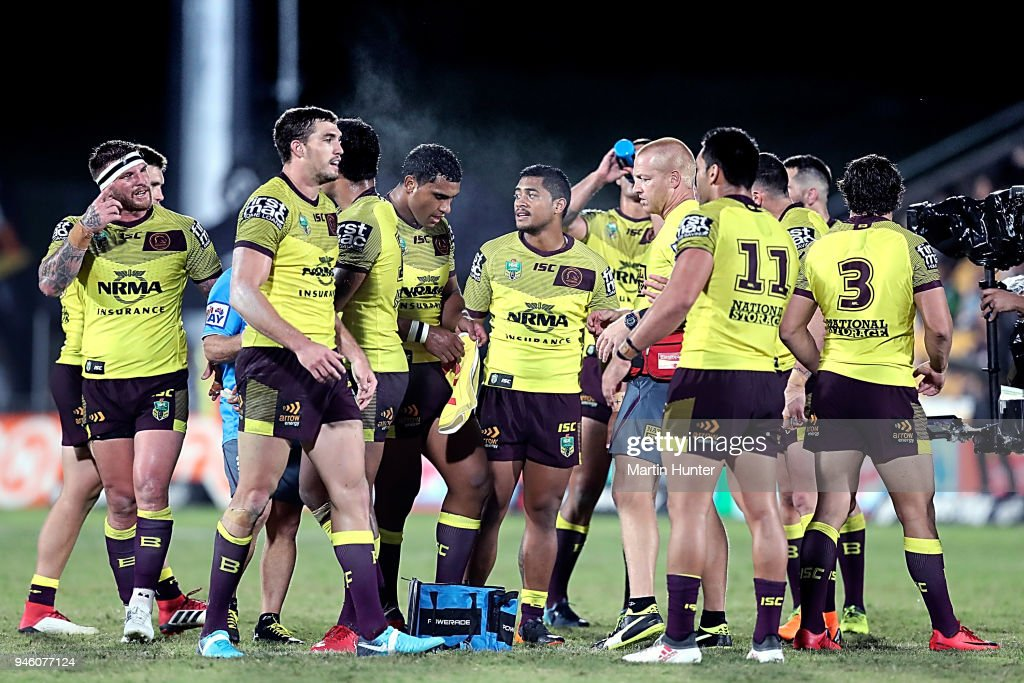 Broncos team mates after the round six NRL match between the New Zealand Warriors and the Brisbane Broncos at Mt Smart Stadium on April 14, 2018 in Auckland, New Zealand.