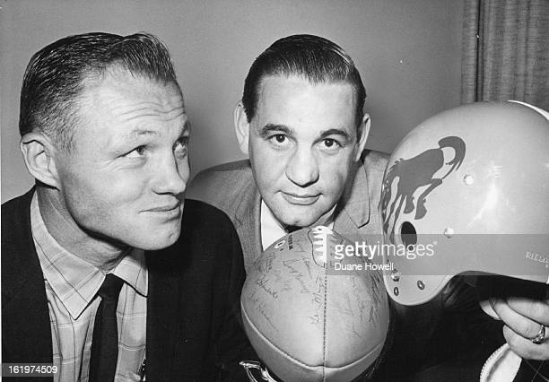 APR 4 1962 Broncos to Sport New Look Coach Jack Faulkner of the Denver Bronco and defensive backfield aide Gary Glick looked over new equipment...