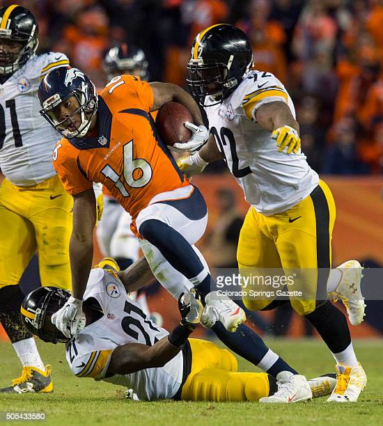 Broncos wide receiver Bennie Fowler runs past Steelers free safety Robert Golden bottom and outside linebacker James Harrison for a first down at the...