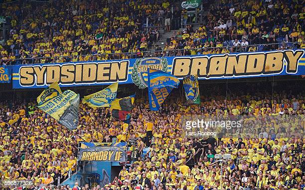 Brondby fans and tifo during the Danish Alka Superliga match between Brondby IF and FC Copenhagen at Brondby Stadion on August 28 2016 in Brondby...