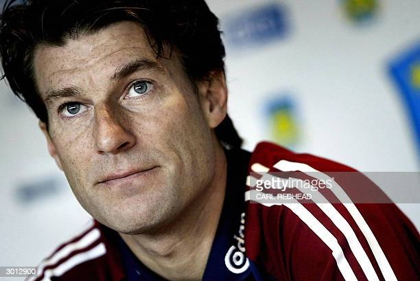 Brondby football coach Michael Laudrup meets the press 25 February on the eve of his team's UEFA Cup match against FC Barcelona in Copenhagen Laudrup...