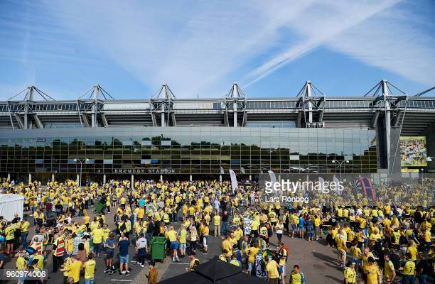Brondby IF fans in the fanzone prior to the Danish Alka Superliga match between Brondby IF and AaB Aalborg at Brondby Stadion on May 21 2018 in...