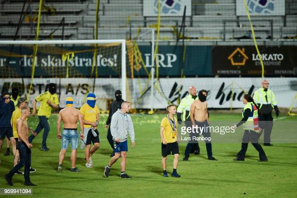 Brondby IF fans walking on the pitch after the Danish Alka Superliga match between AC Horsens and Brondby IF at CASA Arena Horsens on May 18 2018 in...