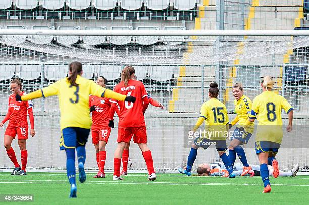 Brondby IF's players celebrate after a goal during the UEFA Women's Champions League quarterfinal match between Linkopings FC and Brondby IF at...