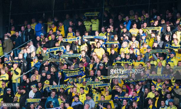Brondby supporters during the Danish Superliga match between Brondby IF and FC Midtjylland at the Brondby Stadium on May 08 2014 in BrondbyDenmark