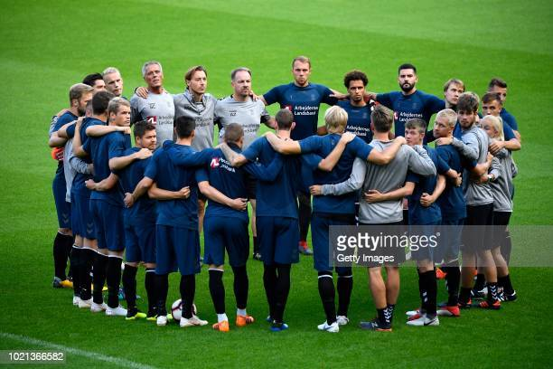 Brondby team with Alexander Zorniger coach of Brondby during a training session before the UEFA Europa League PlayOffs 1st Leg match between KRC Genk...