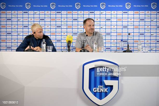 Brondby's head coach Alexander Zorniger and Brondby's player Johan Larsson give a press conference on August 22 2018 in Genk ahead of the UEFA Europa...