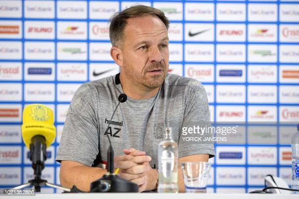 Brondby's head coach Alexander Zorniger gives a press conference on August 22 2018 in Genk ahead of the UEFA Europa League first leg football match...