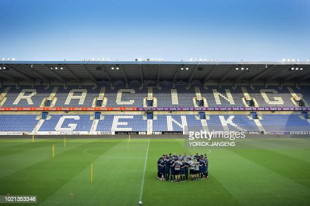 Brondby's players gather during a training session on August 22 2018 in Genk ahead of the UEFA Europa League first leg football match between Danish...