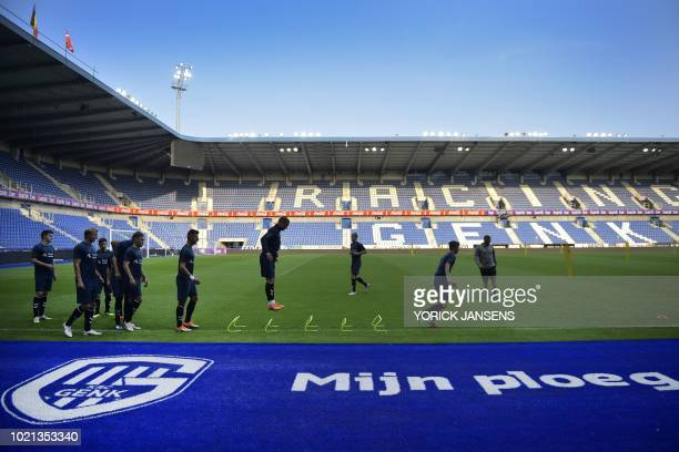 Brondby's players take part in a training session on August 22 2018 in Genk ahead of the UEFA Europa League first leg football match between Danish...