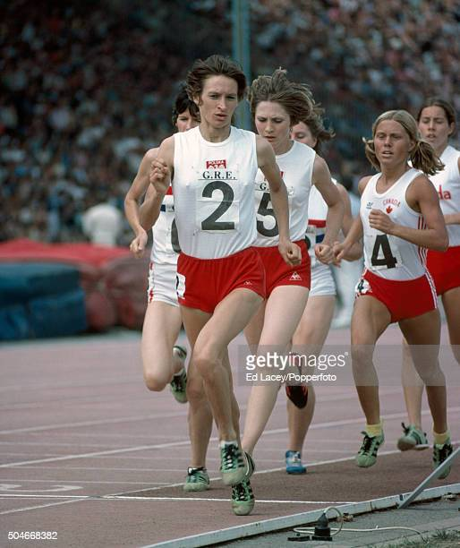 Bronislaw Ludowichowska of Poland leads Ursula Prasek of Poland and Thelma Wright of Great Britain during the women's 1500 metres event during an...