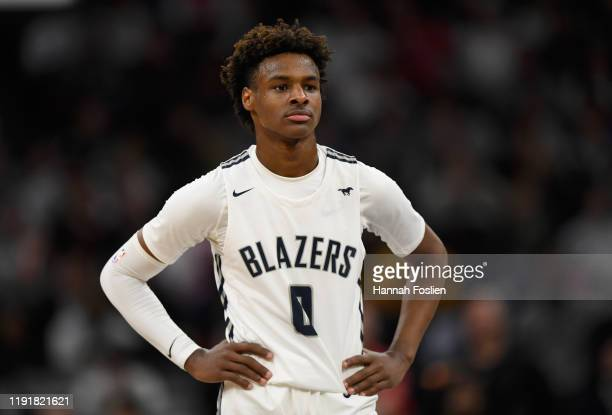 Bronny James of Sierra Canyon Trailblazers looks on during the second half of the game against the Minnehaha Academy Red Hawks at Target Center on...