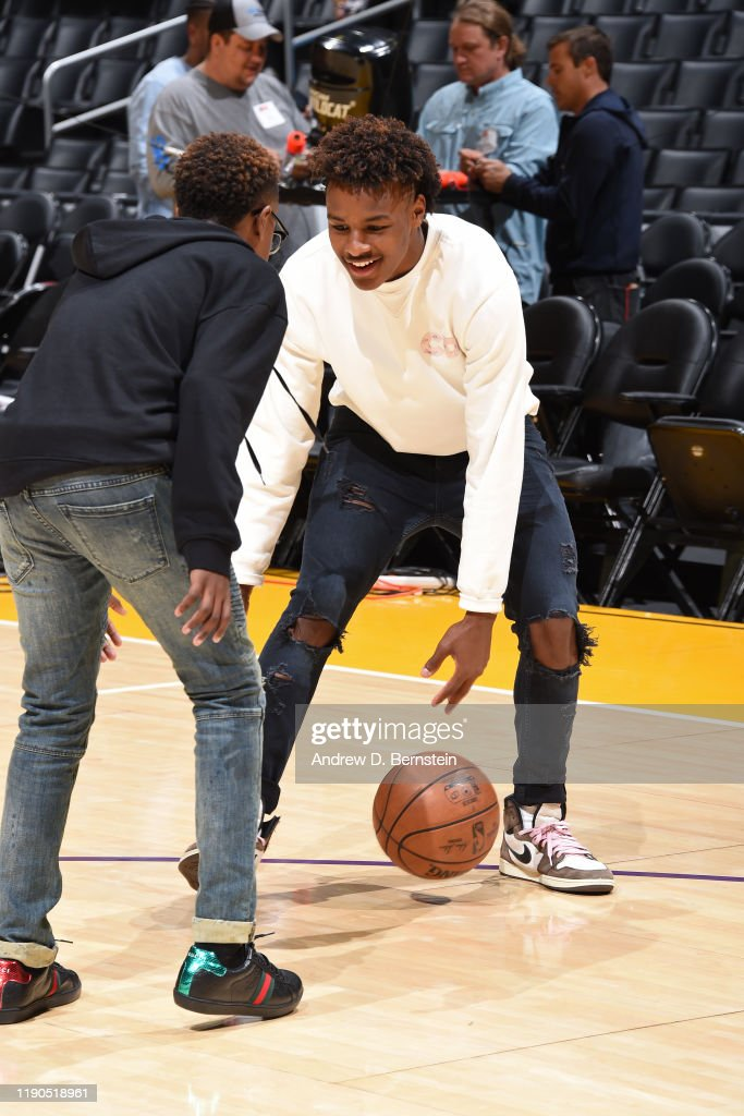 Bronny James Smiles And Dribbles The Ball On The Court After The La News Photo Getty Images