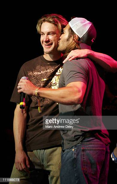 Bronson Arroyo and Johnny Damon of the Boston Red Sox