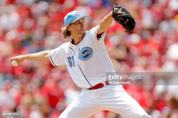 Bronson Arroyo delivers a pitch in the first inning against the Los Angeles Dodgers at Great American Ball Park on June 18 2017 in Cincinnati Ohio