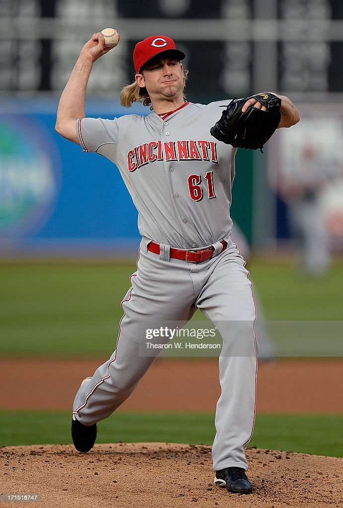 Bronson Arroyo #61 of the Cincinnati Reds pitches against the Oakland Athletics at O.co Coliseum on June 25, 2013 in Oakland, California.