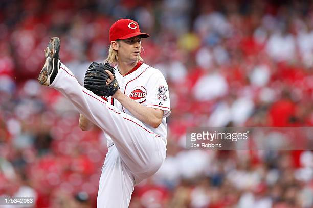 Bronson Arroyo of the Cincinnati Reds pitches against the St Louis Cardinals during the game at Great American Ball Park on August 2 2013 in...