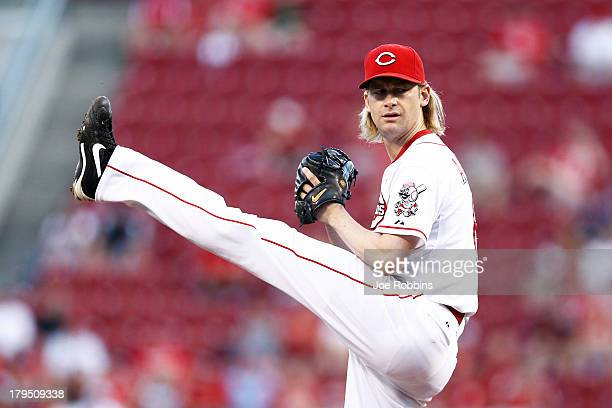 Bronson Arroyo of the Cincinnati Reds pitches against the St Louis Cardinals during the game at Great American Ball Park on September 4 2013 in...