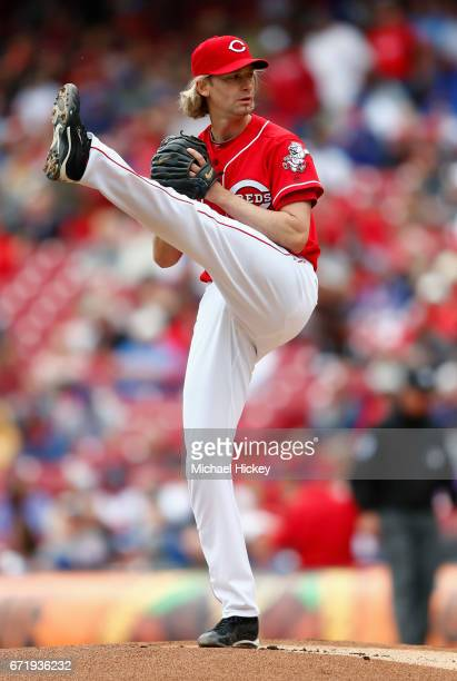 Bronson Arroyo of the Cincinnati Reds pitches during the first inning against the Chicago Cubs at Great American Ball Park on April 23 2017 in...