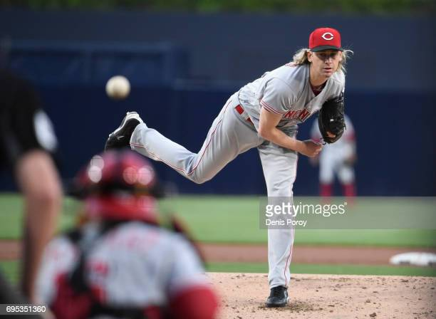 Bronson Arroyo of the Cincinnati Reds pitches during the first inning of a baseball game against the San Diego Padres at PETCO Park on June 12 2017...