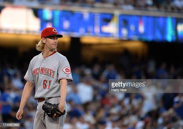 Bronson Arroyo of the Cincinnati Reds reacts to a two run homerun from Skip Schumaker of the Los Angeles Dodgers for a 31 lead during the fifth...