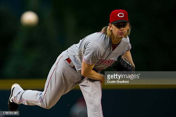 Bronson Arroyo of the Cincinnati Reds throws a pitch against the Colorado Rockies during the first inning of a game at Coors Field on August 30 2013...