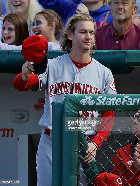 Bronson Arroyo of the Cincinnati Reds who is retiring after today's game acknowledges the crowd as the Reds take on the Chicago Cubs at Wrigley Field...