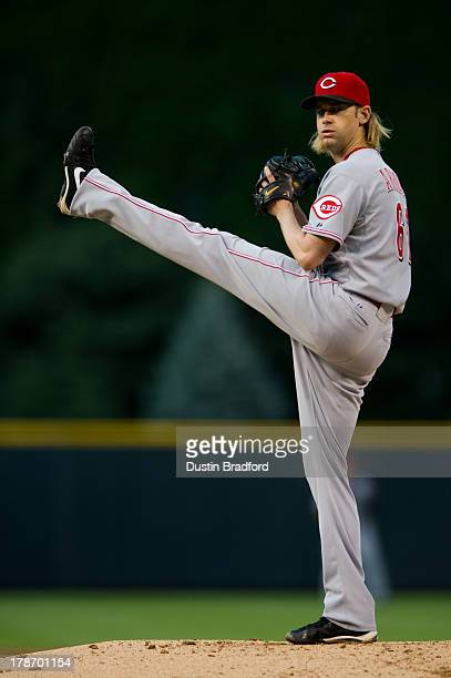 Bronson Arroyo of the Cincinnati Reds winds up to throw a pitch against the Colorado Rockies during the first inning of a game at Coors Field on...