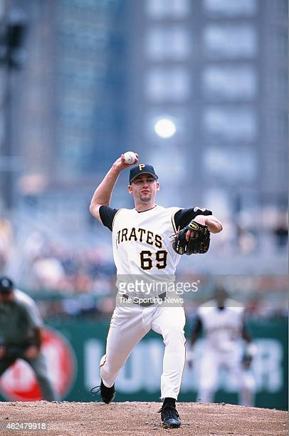Bronson Arroyo of the Pittsburgh Pirates pitches during a game against the Milwaukee Brewers at PNC Park on August 18 2002 in Pittsburgh Pennsylvania