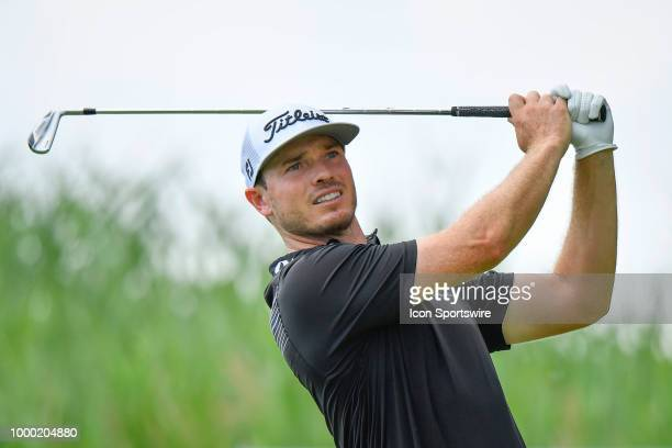 Bronson Burgoon hits a tee shot on the 11th hole during the final round of the John Deere Classic on July 15 2018 at the TPC Deere Run in Silvis...