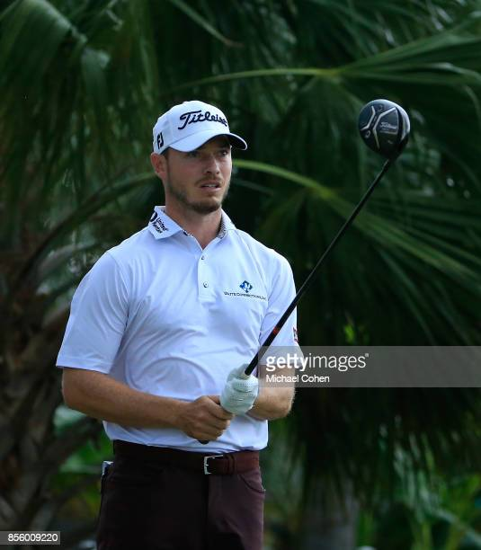 Bronson Burgoon lines up his drive on the second hole during the third round of the Webcom Tour Championship held at Atlantic Beach Country Club on...