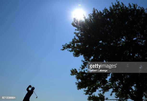 Bronson Burgoon makes a tee shot on the 13th hole during the final round of the Webcom Tour Pinnacle Bank Championship on July 23 2017 at the Indian...