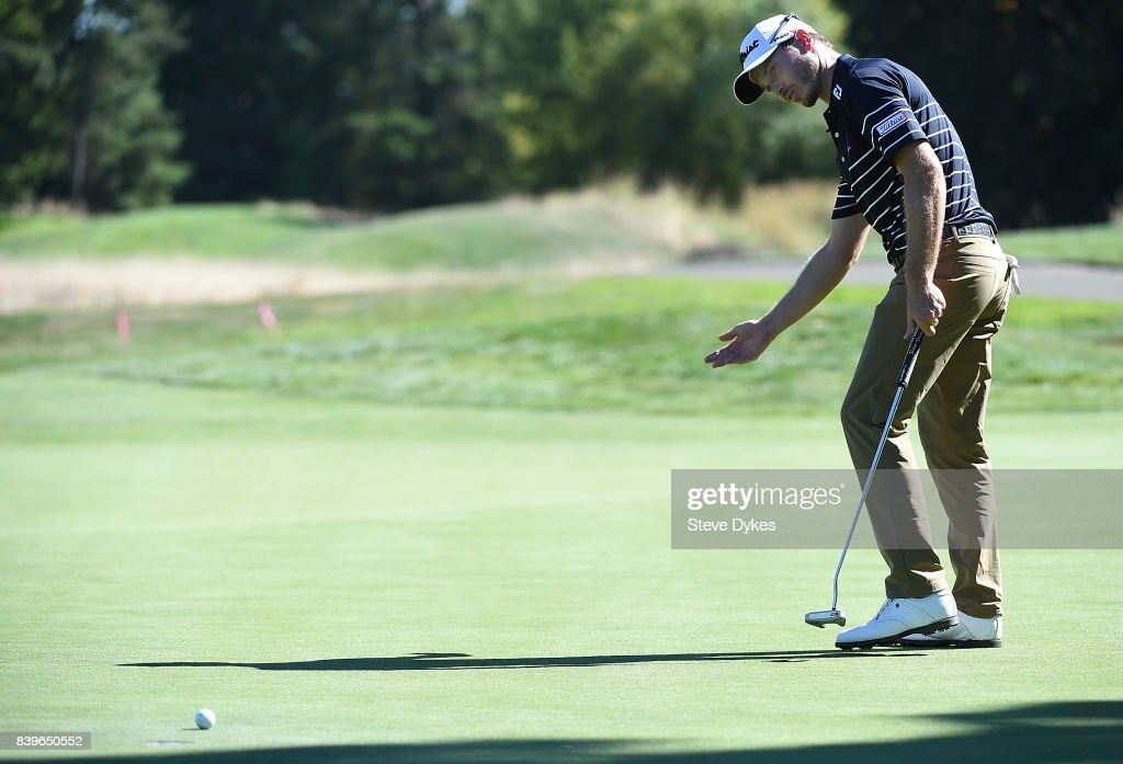 Bronson Burgoon reacts to missing his birdie putt on the 16th hole during round three of the WinCo Foods Portland Open at Pumpkin Ridge Golf Club - Witch Hollow on August 26, 2017 in North Plains, Oregon.