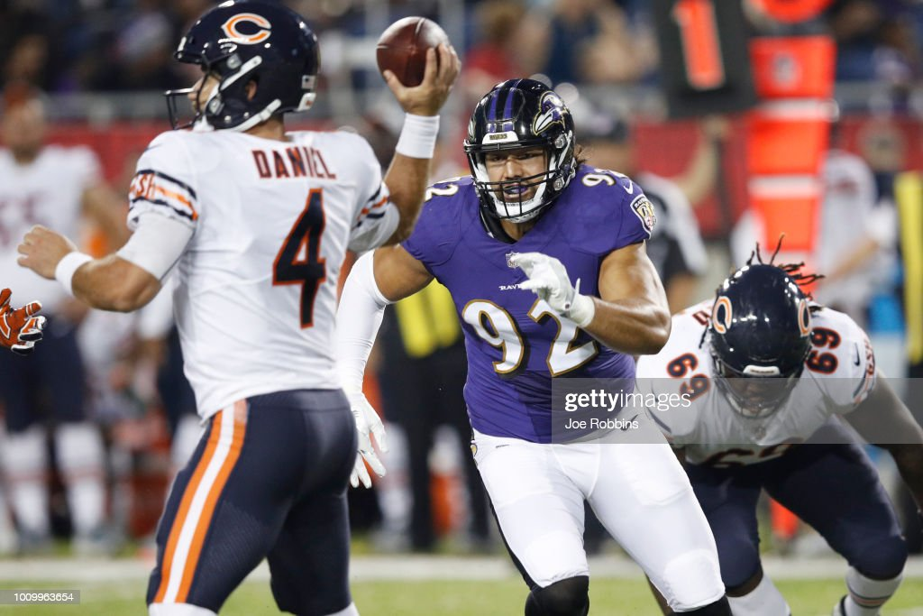 Bronson Kaufusi #92 of the Baltimore Ravens rushes against Chase Daniel #4 of the Chicago Bears in the first quarter of the Hall of Fame Game at Tom Benson Hall of Fame Stadium on August 2, 2018 in Canton, Ohio.